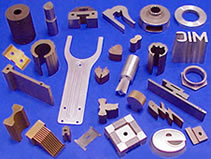Sample parts, production parts, prototypes, medical devices, tooling, tool and die all made by wire EDM, sinker EDM,                             EDM small hole burning, small hole drilling and abrasive waterjet cutting by MILCO Wire EDM & Waterjet