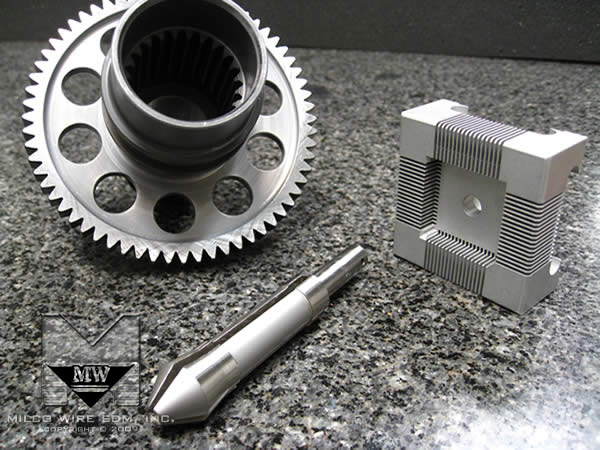 Sample parts of collets and internal splines made with sinker EDM machining, conventional EDM, ram EDM and plunge EDM